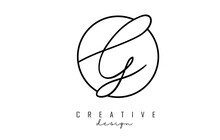 Handwriting Letters G Logo Design With Simple Circle Vector Illustration.