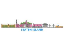 United States, New York Staten Island Cityscape Line Vector. Travel Flat City Landmark, Oultine Illustration, Line World Icons