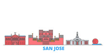 Costa Rica, San Jose Cityscape Line Vector. Travel Flat City Landmark, Oultine Illustration, Line World Icons