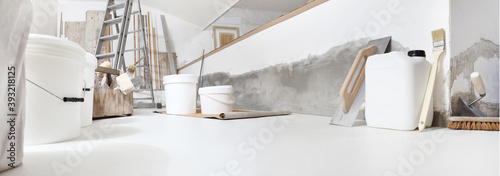 Fotografia Low angle of indoor shot of construction or building site of home renovation wit
