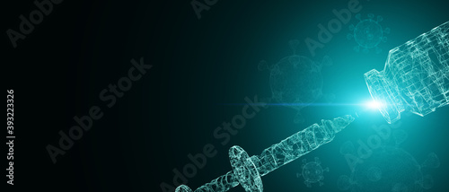 Fotografía 3D Illustration Abstract syringe injection needle futuristic innovation covid va