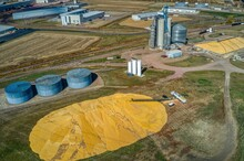Aerial View Of Large Corn Pile...