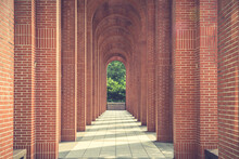 A Red Brick Arcade. Toned Image.