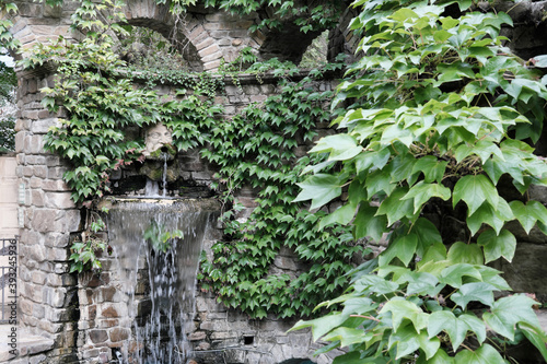 Fotografie, Obraz Waterfall flows and vivid plants decoration in cozy city park place on summer