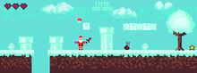 Pixel Game New Year Santa Claus. Vector