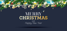 Fir Branches With Neon Lights And Golden Garland With Helicopters On Blue Background.