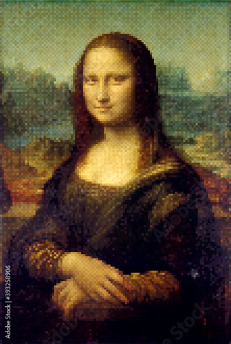 Mona Lisa - Leonardo da Vinci. Redrawing with pixel art style. Wallpaper Mural