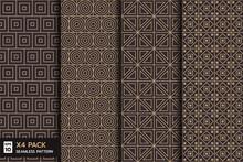 Set Of  Retro Geometric Line  Seamless Pattern On Brown Background