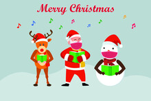 Christmas Vector Concept: Santa Claus With His Reindeer And Snowman Singing Christmas Carol Together While Wearing Face Mask