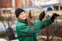 Caucasian Cute Woman Gardener ...