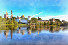 Novodevichy Convent Colorful Painting Looks Like Picture