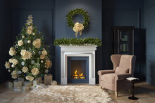 Dark Blue Living Room With A F...
