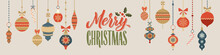 Merry Christmas And Happy New Year Calligraphy Banner. Christmas Toys. Greeting Card Typography
