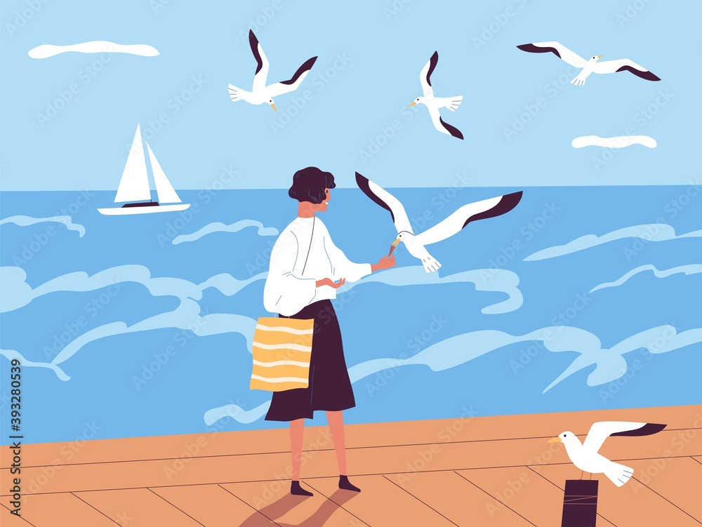Fototapeta Summer vacation at seaside resort. Happy woman walking along quay and feeding seagulls against sea or ocean with sailboat on horizon. Female spending time alone. Flat vector illustration.