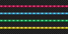 Realistic LED Strip Set. Colorful Glowing Illuminated Tape Decoration