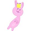 cute pink bunny princess in crown, vector childrens illustration, kawaii drawing