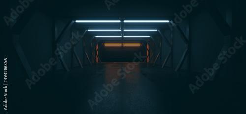Futuristic Sci Fi Modern Spaceship Tunnel Showroom Corridor Dark Cinematic Blue Orange Lights Empty Realistic Cyber Garage Warehouse 3D Rendering