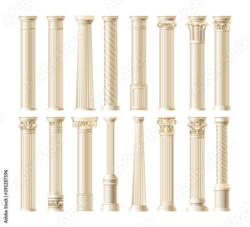 Fototapeta Realistic antique pillars set