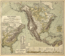 Old Historical Vintage Map Of The North American Continent From The Middle Of The 19th Century, End Of The American Civil War, German Edition