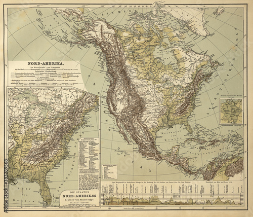 Fotografia, Obraz vintage map of the North American continent from 1865, end of civil war, middle