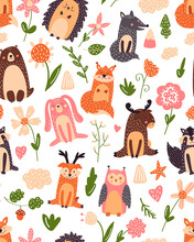Vintage Floral Seamless Pattern With Forest Animals: Bear, Fox, Owl, Rabbit. Vector Background With Butterflies, Snail, Trees And Flowers.