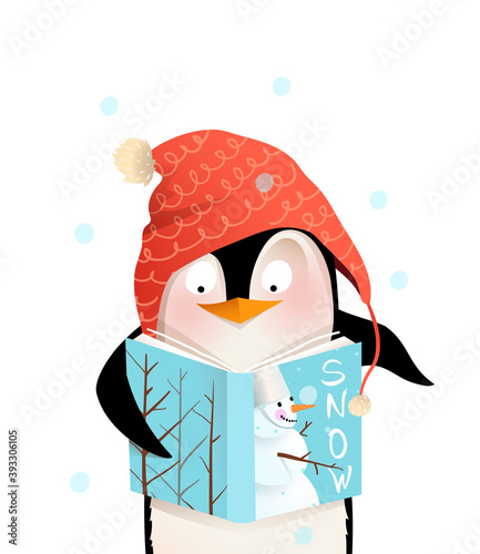 Penguin wearing winter knitted hat reading book with snowman winter cover cheerful kids character design. Cute and friendly animal character design for children in vector.
