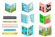 Children books library with funny hand drawn covers. Education and leisure reading and studying design. Isolated open and closed books vector clipart.
