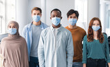 Diverse group of international people wearing face masks
