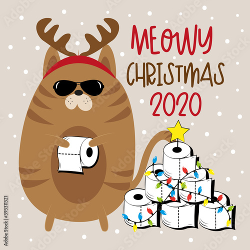 Meowy Christmas 2020 - Cat in antler and Toilet paper Christmas tree. Funny greeting card for Christmas in covid-19 pandemic self isolated period.