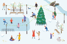 People Walk In The Park In Winter. Winter Outdoor Activities. Men, Women And Children Doing Winter Activities. Winter Park With Active People, Which Ice Skating, Playing Snowballs, Making Snowman