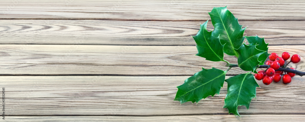 Fototapeta Holly Ilex and berries against wooden background