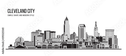 Obraz Cityscape Building Abstract Simple shape and modern style art Vector design - Cleveland city - fototapety do salonu
