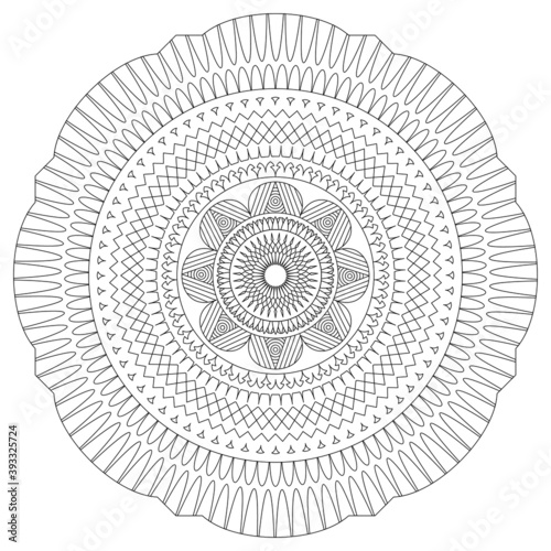 Foto Mandala. Coloring book pages. Painting for adult anti stress