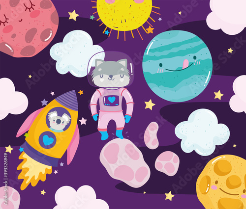 space raccoon astronaut rocket planet sun and clouds adventure galaxy cartoon Wallpaper Mural