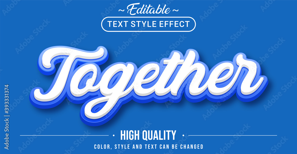 Fototapeta Editable text style effect - Together with blue outline text style theme.