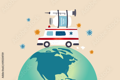 Leinwand Poster COVID-19 vaccine distribution worldwide after approval and ready to ship around
