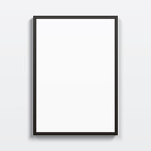 Black Vertical Frame Hanging On A White Wall. Blank Elegant Frame Template, With Clear Space For Art, Image, Or Text Placement. Rectangular Shape Modern Picture Frame, Realistic Vector Mockup.