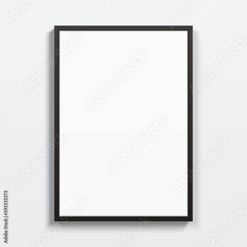 Obraz Black vertical frame hanging on a white wall. Blank elegant frame template, with clear space for art, image, or text placement. Rectangular shape modern picture frame, realistic vector mockup. - fototapety do salonu