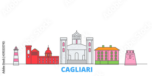 Italy, Cagliari cityscape line vector. Travel flat city landmark, oultine illustration, line world icons