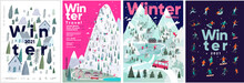 Set Of Vector Illustrations. People In The Winter In A Hand-drawn Scandinavian Style. Winter Backgrounds, Winter Landscape, Mountains, Forests, Ski Resort, Hotel And Vacations.