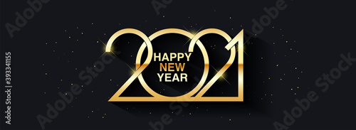 Fototapeta Happy New Year 2021 text design. Greeting illustration with golden numbers. Merry christmas and happy new year 2021 greeting card and poster design. obraz