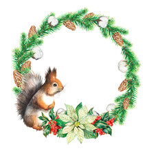 Christmas Wreath With Squirrels Watercolor Illustration, Squirrels., Fir Branches, Cones, Flowers, Berries, For New Year Cards