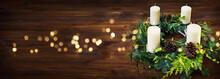 Advent Wreath On Dark Wooden T...