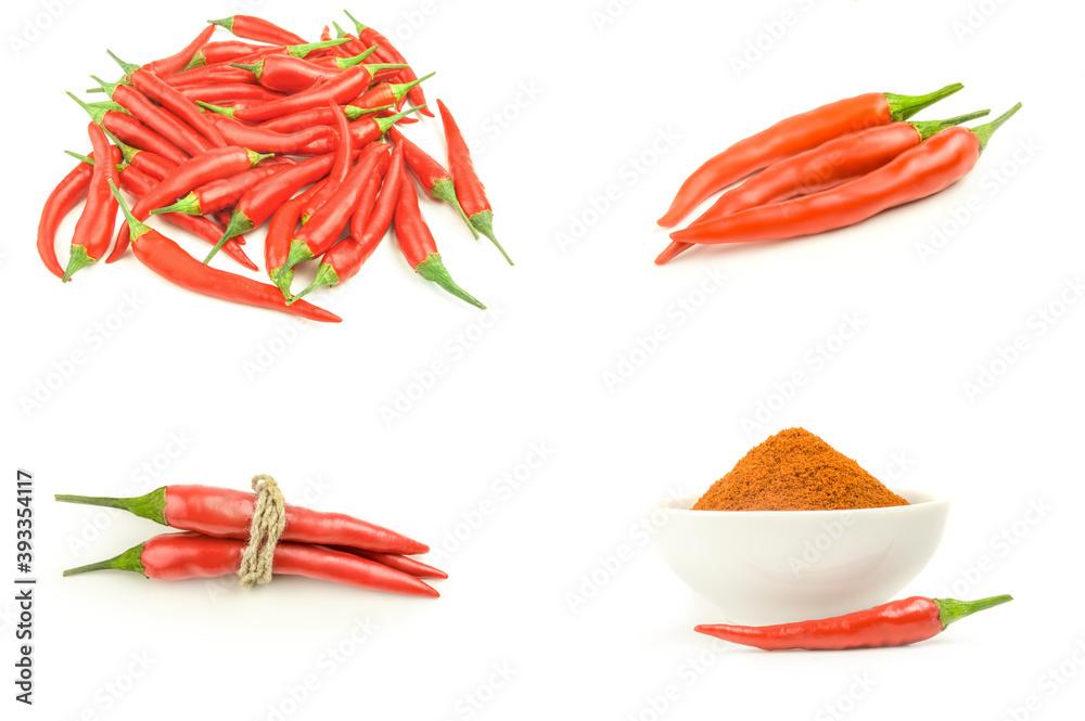 Fototapeta Set of hot red pepper on white