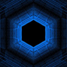 Shades Of Bright Neon Blue And Indigo Colored Symmetric Intricate Abstract Patterns Shapes And Hexagonal Repeating Design On Black Background