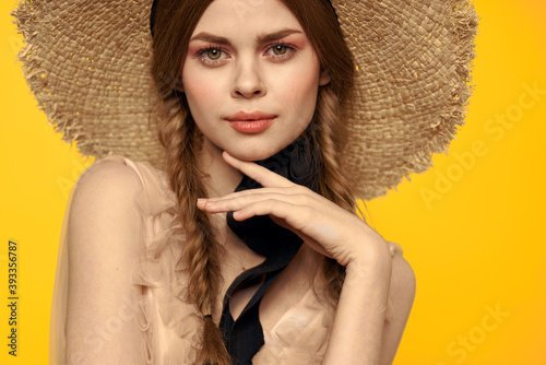 Portrait woman in straw hat on yellow background cropped view of summer dress mo Fotobehang