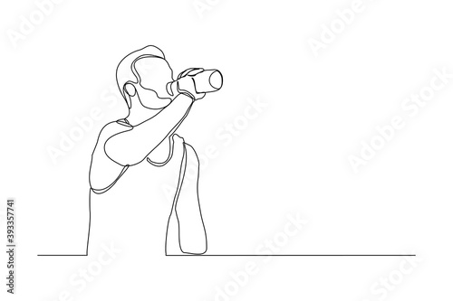Canvas-taulu Continuous line drawing of sporty man drink energy water from bottle