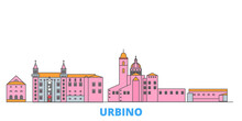 Italy, Urbino City Cityscape Line Vector. Travel Flat City Landmark, Oultine Illustration, Line World Icons