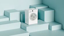 White Washing Machine On A Blue Cube Stand, Web Template Creative Presentation, 3d Rendering