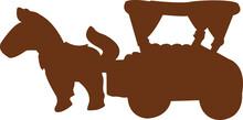 Horse Cart Silhouette Illustration Vector Design